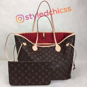 Lv Neverfull Real leather
